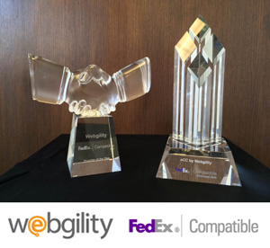 "Webgility's Awards for ""FedEx Provider of the Year"" and ""Diamond Status in FedEx Compatible"